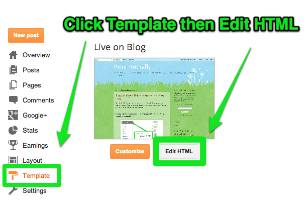 Select Blogger Template then Edit HTML